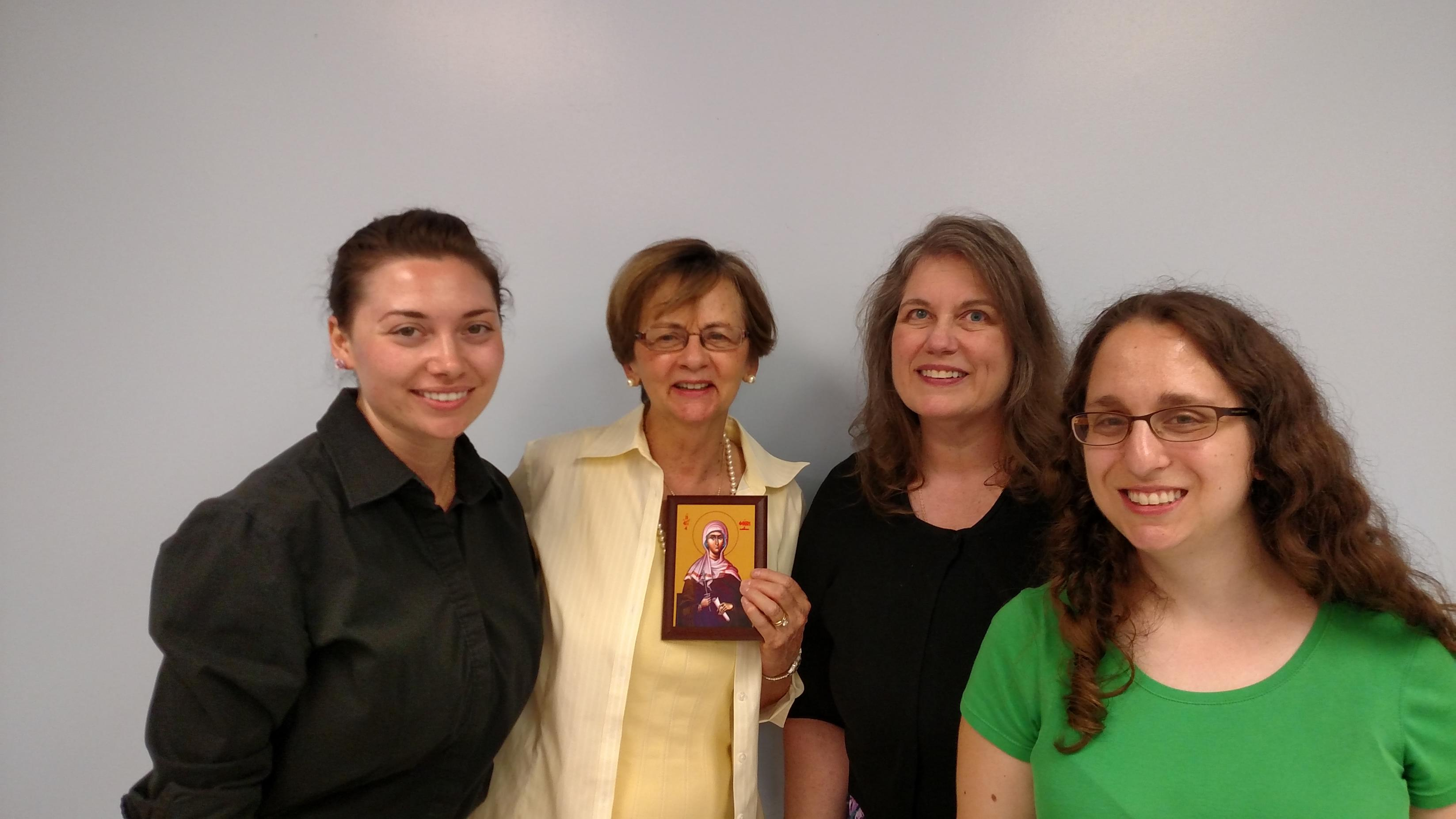 Speakers at St. Phoebe Conference Recap Event (L to R): Dionne Manos, Marilyn Rouvelas, Matushka Alexandra Safchuk, and Christina Jatras.