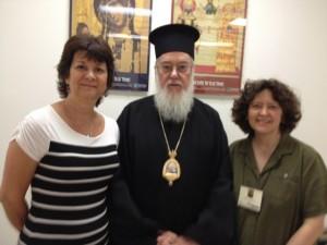 St. Phoebe board members met in Boston at Hellenic College: AnnMarie Mecera, Metropolitan Kallistos Ware, and Teva Regule.