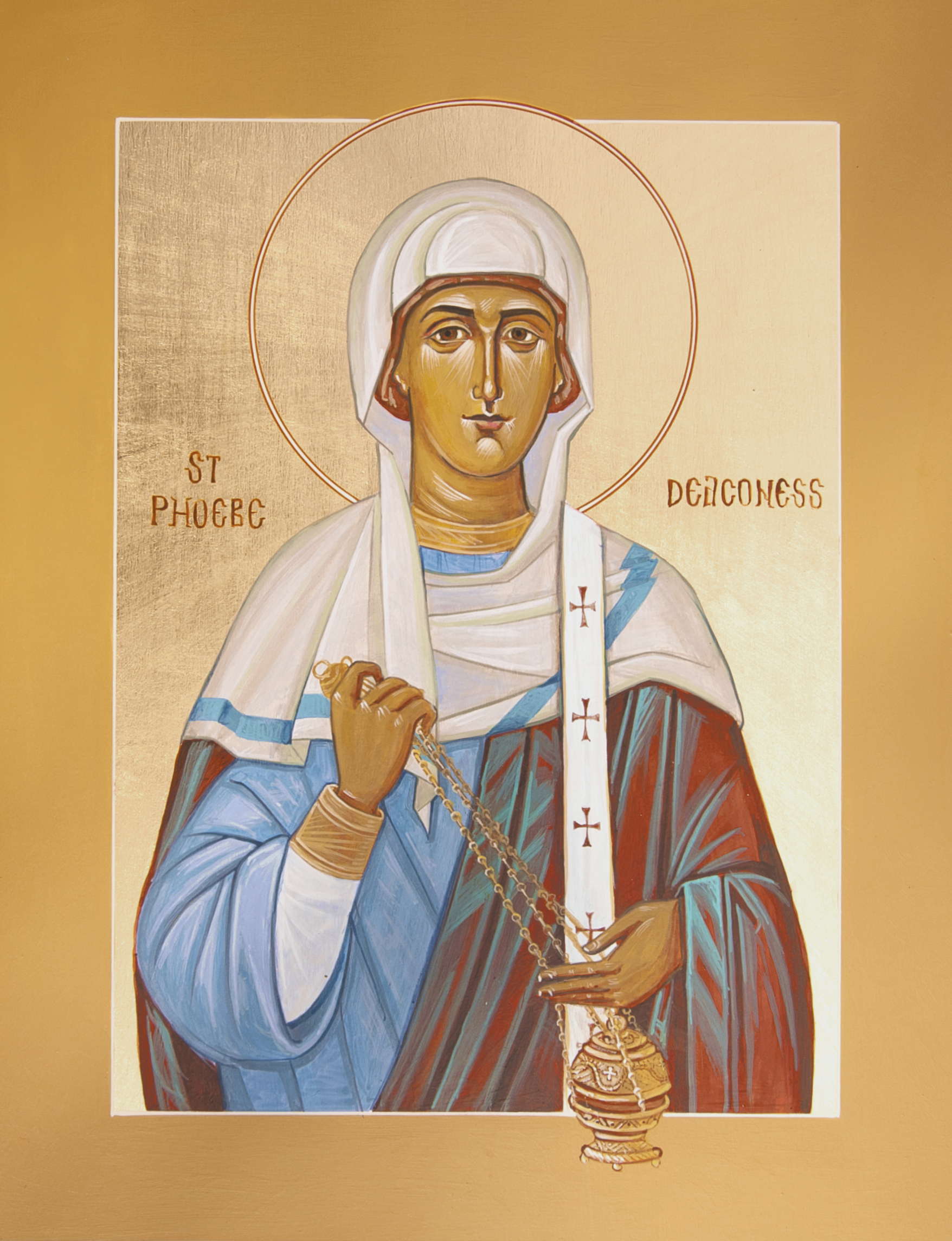 icon of st. phoebe with censer